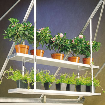 Image of One Pair Hanging Shelves To Fit To Greenhouse Roof - 86cm x 25cm
