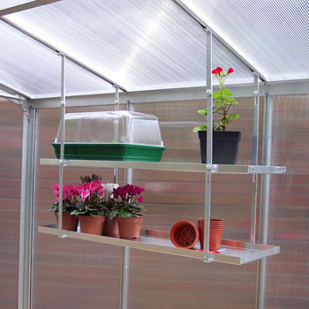 Image of One Pair Hanging Shelves To Fit To Greenhouse Roof - 147cm x 25cm