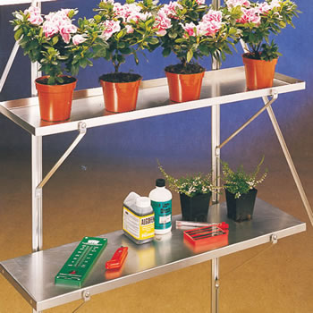 Image of Greenhouse Shelves Wall Mounted 148cm x 15cm - One Pair