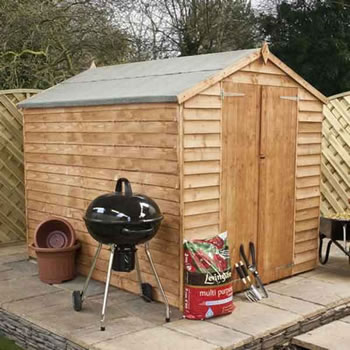 Image of 8 x 6 Windowless Overlap Apex Wooden Garden Shed