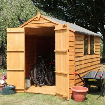 Image of 8 x 6 Overlap Apex Double Door Wooden Garden Shed