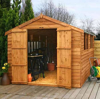 Image of 12 x 8 Overlap Double Door Apex Wooden Garden Shed