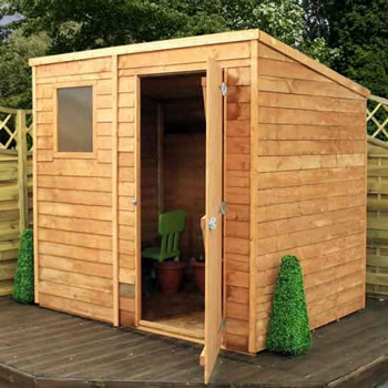 Image of 7 x 5 Overlap Single Door Pent  Wooden Garden Shed