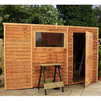 Image of 10 x 6 Overlap Single Door Pent  Wooden Garden Shed