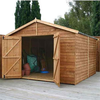 Image of 10 x 10 Windowless Overlap Apex Wooden Garden Shed Workshop