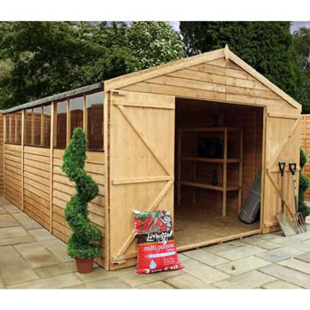 Image of 15 x 10 Overlap Double Door Apex Wooden Garden Shed