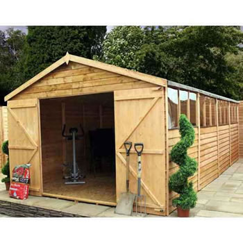 Image of 20 x 10 Overlap Double Door Apex Wooden Garden Shed