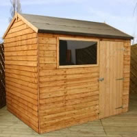 Image of 8 x 6 Overlap Single Door Reverse Apex Wooden Garden Shed