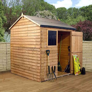 Image of 6 x 6 Overlap Single Door Reverse Apex Wooden Garden Shed