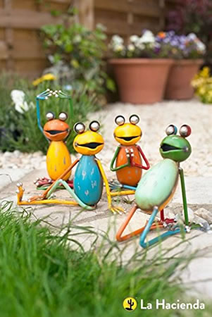 Image of La Hacienda Seated Yoga Frogs (Set Of 4) Garden Decorative Animal Frogs Ornament