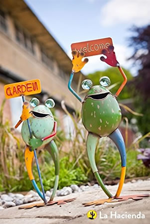 Image of La Hacienda Smiling Frogs with Signs Set of Two Garden Decorative Animal Frogs Ornament