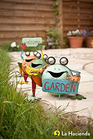 Image of La Hacienda Smiling Fat Frogs with Signs Set of 3 Garden Decorative Animal Frogs Ornament