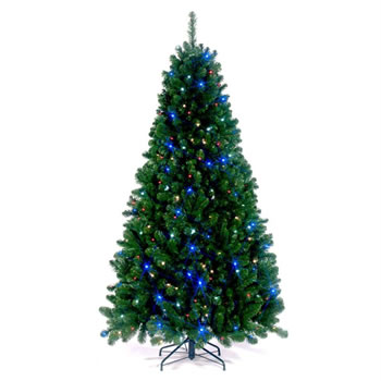 Image of Tree Classics 2.1m (7ft) Green Arctic Spruce with Multicoloured LEDs Artificial Christmas Tree (84-866-385LZ)