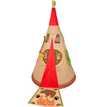 Image of Traditional Garden Games Wigwam Play Tent Set (088)