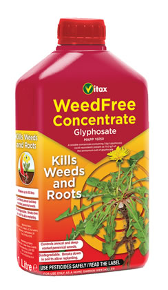 Image of Vitax WeedFree Glyphosate Concentrate Kills Weeds and Roots 1 Litre