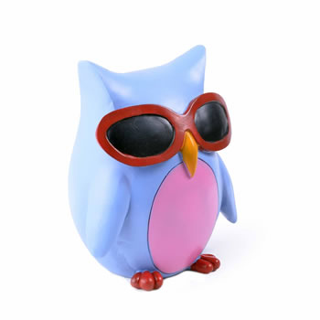 Image of Colourful Blue Bird in Sunglasses Resin Money Box Savings Bank