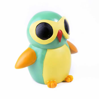 Image of Colourful Green Bird in Sunglasses Resin Money Box Savings Bank