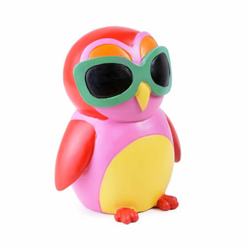 Image of Colourful Red Bird in Sunglasses Resin Money Box Savings Bank