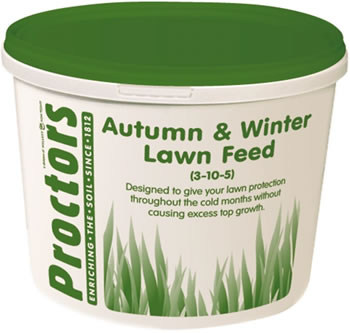 Image of 5kg tub of New Proctors Autumn and Winter lawn grass feed for 285 sqm