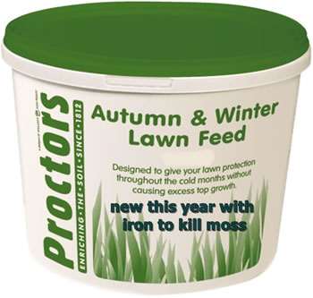 Image of New 5kg tub of New Proctors Autumn and Winter lawn feed with iron to kill moss
