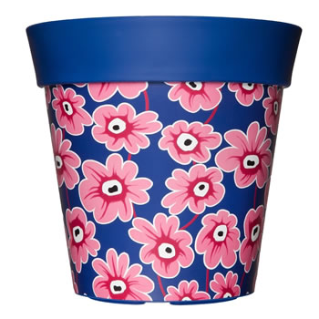 Image of Single 22cm Blue & Pink Floral Plastic Garden Planter 5L Flowerpot by Hum