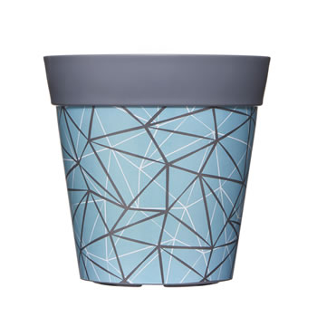 Image of Single 22cm Blue Geometric Plastic Garden Planter 5L Flowerpot by Hum