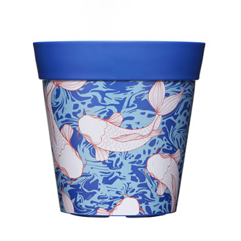 Image of Single 22cm Blue Ink Fish Plastic Garden Planter 5L Flowerpot by Hum