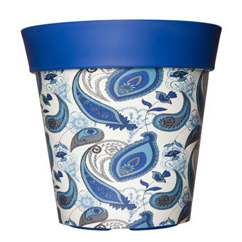 Image of Single 22cm Blue Paisley Plastic Garden Planter 5L Flowerpot by Hum