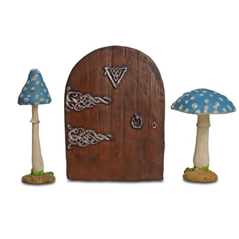 Image of Fairy Garden Starter Kit Set Of Two Blue Mushrooms & Fairy Door