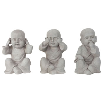 Image of Grey Fibreclay See, Hear & Speak No Evil 30cm Shaolin Monk Garden Statue Ornament Set