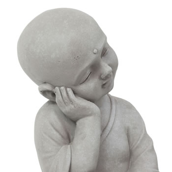 Extra image of 40cm Stone Look Fibreclay Relaxing Shaolin Monk Buddha Garden Statue
