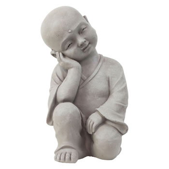 Image of 40cm Stone Look Fibreclay Relaxing Shaolin Monk Buddha Garden Statue Ornament
