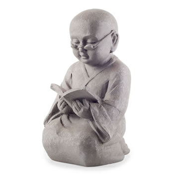 Image of Grey Stone Look Kneeling Reading Buddha Monk Ornament for Home/ Garden