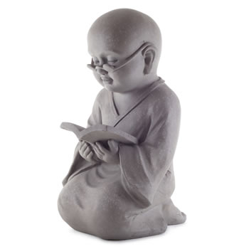 Image of Large 44cm Stone Look Fibreclay Monk Buddha Garden Ornament