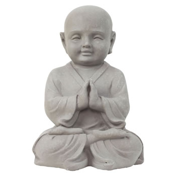 Image of 42cm Stone Look Fibreclay Praying Shaolin Monk Buddha Garden Statue Ornament