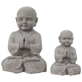 Image of Set of 2 Stone Look Fibreclay Praying Shaolin Monk Buddha Garden Statue Ornaments