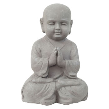 Image of 25cm Stone Look Fibreclay Praying Shaolin Monk Buddha Garden Statue Ornament