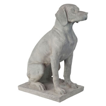 Image of Large Grey Stone Look Fibreclay 67cm Sitting Pointer Dog Garden Statue Ornament