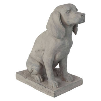 Image of Grey Stone Look Fibreclay 46cm Sitting Pointer Dog Garden Statue Ornament