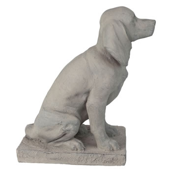 Extra image of 2 x Grey Stone Look 46cm Sitting Pointer Dog Garden Ornaments