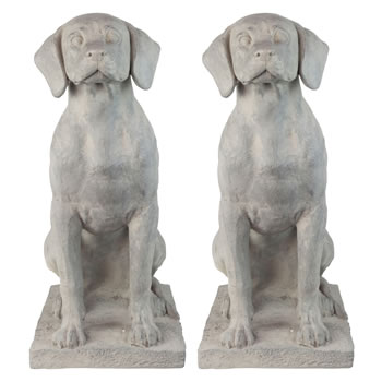 Image of Set of 2 Large Grey Stone Look Fibreclay 67cm Sitting Pointer Dog Garden Statue Ornaments