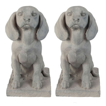 Image of Set of 2 Grey Stone Look Fibreclay 46cm Sitting Pointer Dog Garden Statue Ornaments