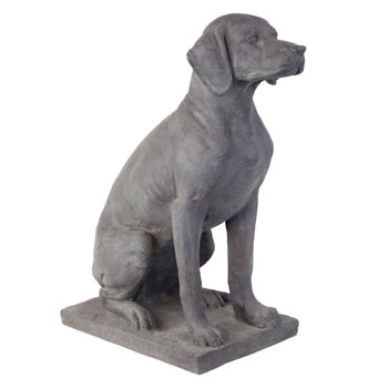 Image of Large Dark Grey Stone Look Fibreclay 67cm Sitting Pointer Dog Garden Statue Ornament