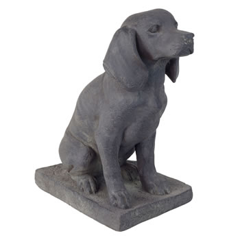 Image of Dark Grey Stone Look Fibreclay 46cm Sitting Pointer Dog Garden Statue Ornament