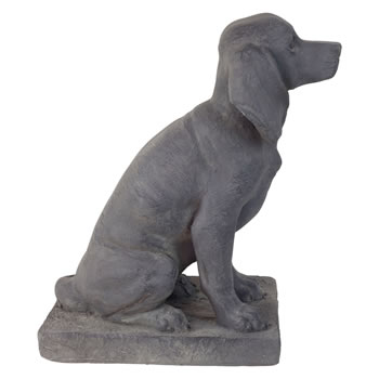 Extra image of 2 x Dark Grey Stone Look 46cm Sitting Pointer Dog Garden Ornaments