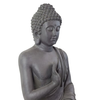 Extra image of Large 73cm Dark Grey Stone Look Sitting Buddha Statue Garden Ornament