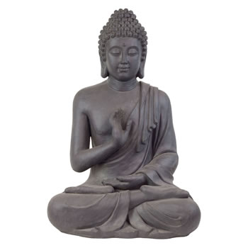Image of Large 73cm Dark Grey Stone Look Fibreclay Sitting Buddha Statue Garden Sculpture Ornament