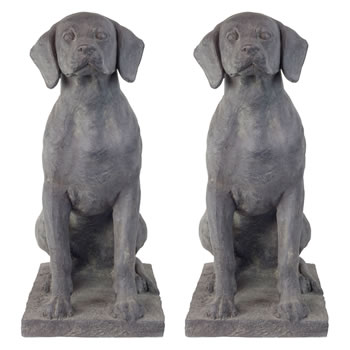 Image of Set of 2 Large Dark Grey Stone Look Fibreclay 67cm Sitting Pointer Dog Garden Statue Ornaments