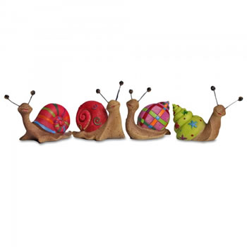 Image of Set Of Four Bright Coloured Resin Snail Garden Ornaments