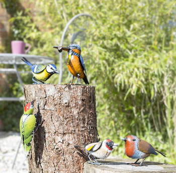Extra image of 6 Assorted British Birds Garden Ornaments